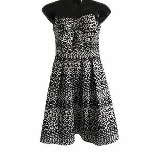 EVA FRANCO strapless dress silver black sweetheart